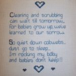cross stitched baby poem